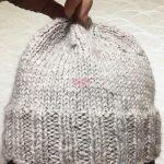 マイ帽子完成♪棒針編みの、シンプルなニット帽です。