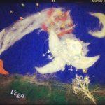 宮沢賢治アートストリート展に出展したフェルトシート絵「よだかの星」。