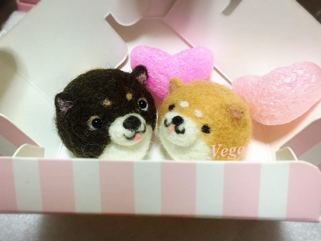 バレンタインデー用のボックスinチョコ色柴犬マスコット