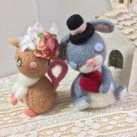 ネズミさん、うさぎさんカップルマスコット-作品番号86