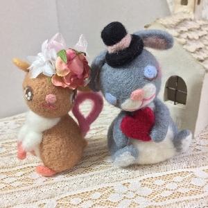 ネズミさん、うさぎさんカップルマスコット