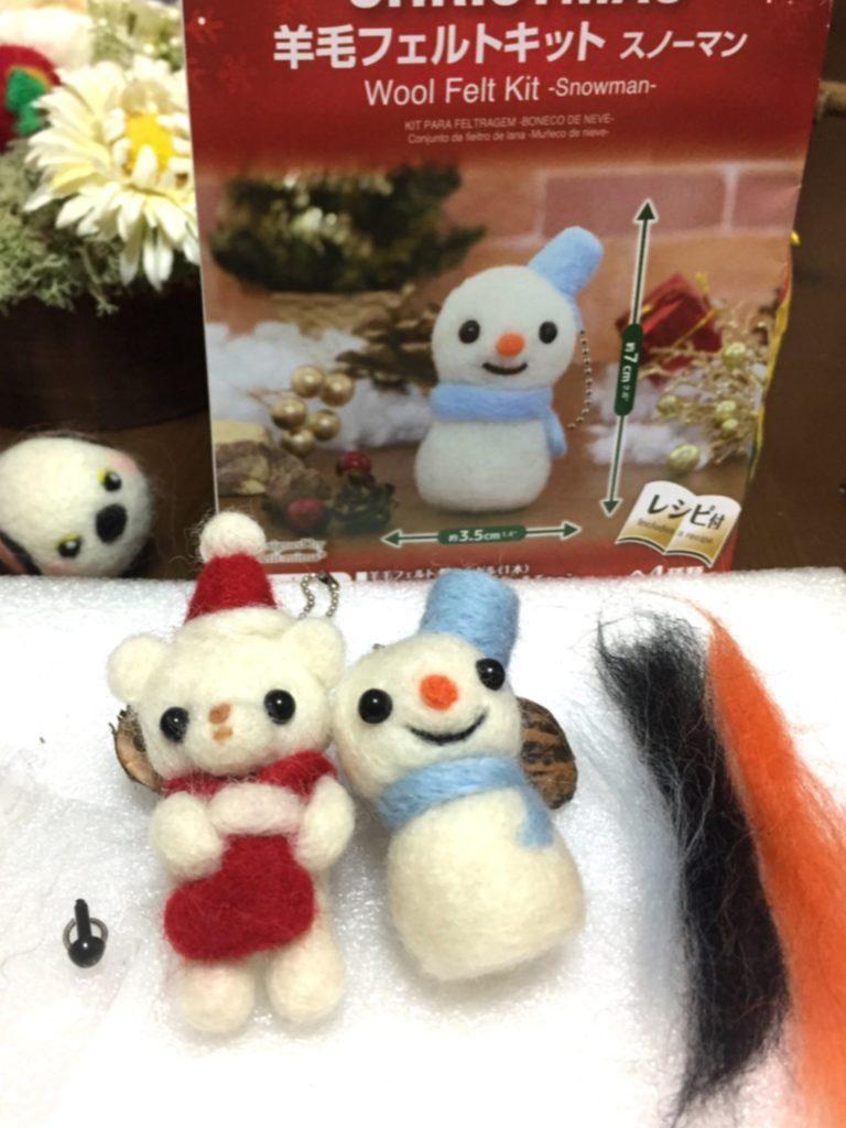 100均ショップダイソー 羊毛フェルトキット クリスマスのクマ 雪だるま