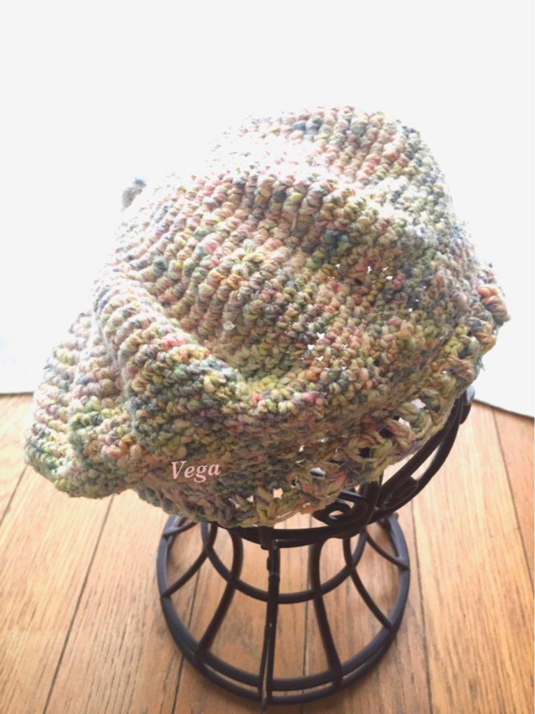 模様編みのベレー帽
