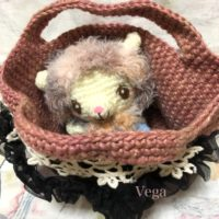 編みぐるみが入った麻バッグ