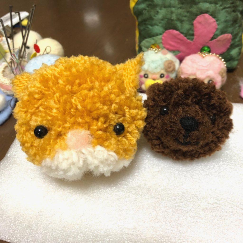 ボンボンマスコット ネコちゃん&クマさん
