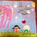 ミニアチュール、仕上げです。しだれ桜と、春に飛び回るツバメのイメージ。