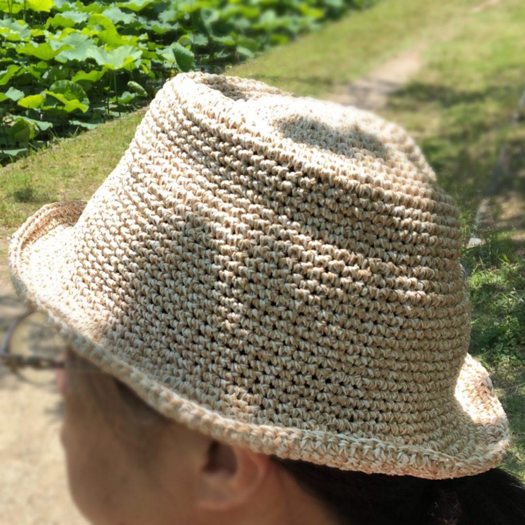 麻糸の夏帽子