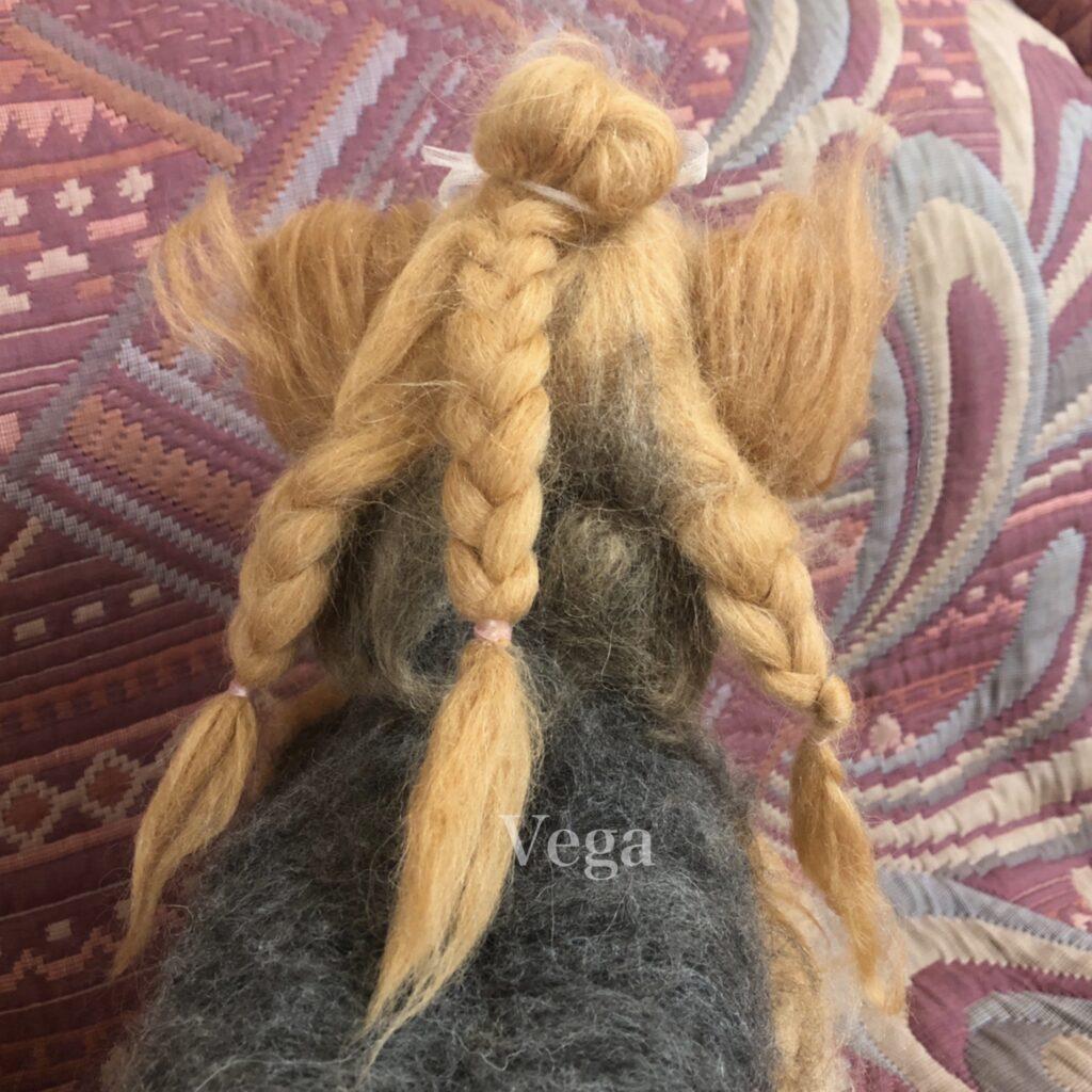 三つ編みのヨークシャーテリア
